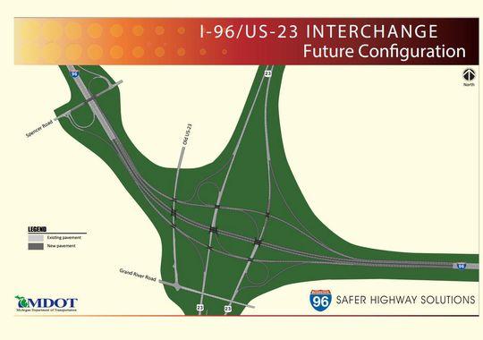MDOT IUS Interchange Work To Begin In March - Us 23 map